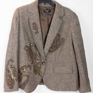 Talbots Woman Beaded Brown Wool Blazer Size 14W